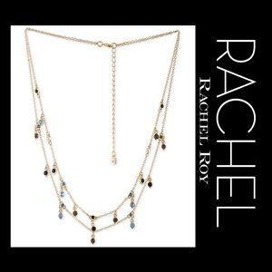 🆕RACHEL ROY Gold-Tone Blue & Black Stone Necklace